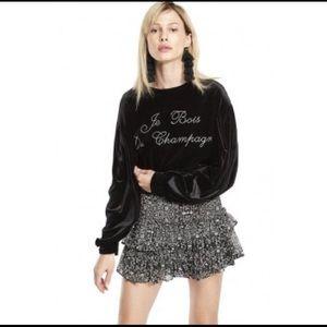 MISA Los Angeles Champagne black Velvet Sweatshirt